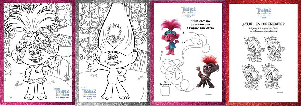 trolls 2 dibujos para colorear niños